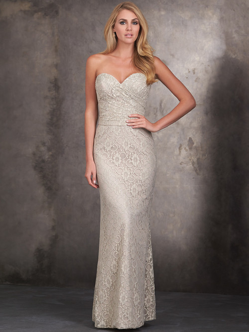 Form-Fitting Lace Allure Bridesmaids Long Dress 1430