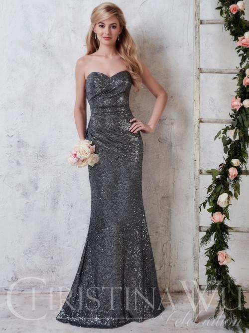 Christina Wu Celebration 22726 Sweetheart Sequin Bridesmaid Dress
