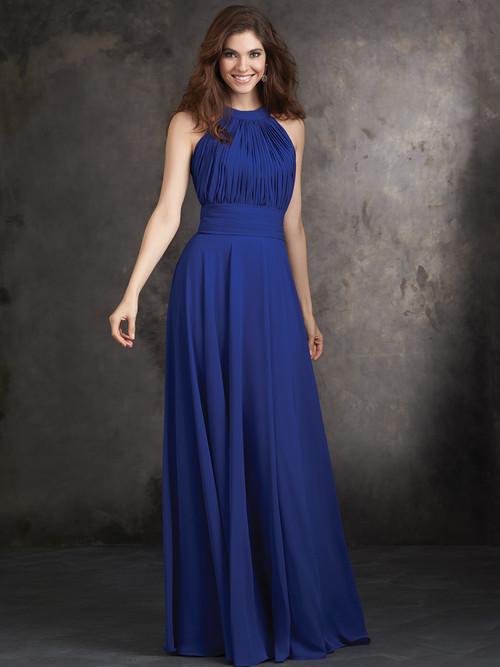 High Halter Neckline Allure Bridesmaids Long Dress 1427