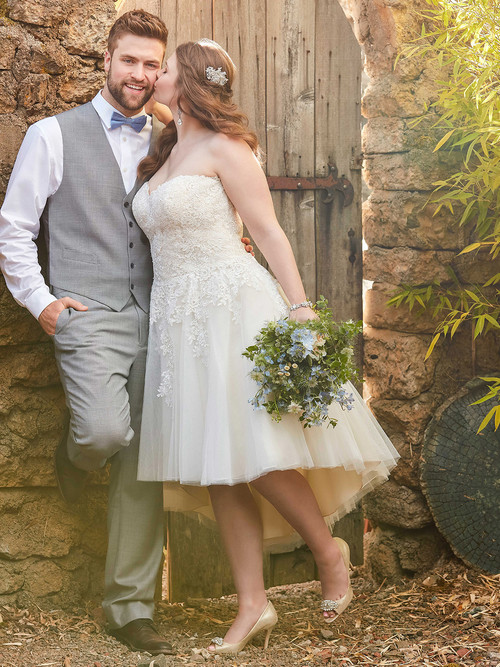 Ivory High Low wedding gown Essense D2189