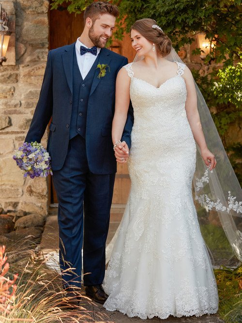 White Fit And Flare wedding gown Essense D2340
