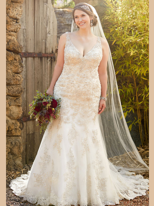 White Fit And Flare wedding gown Essense D2399