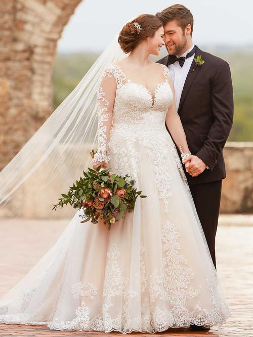 White A-line plus size wedding gown Essense D2433