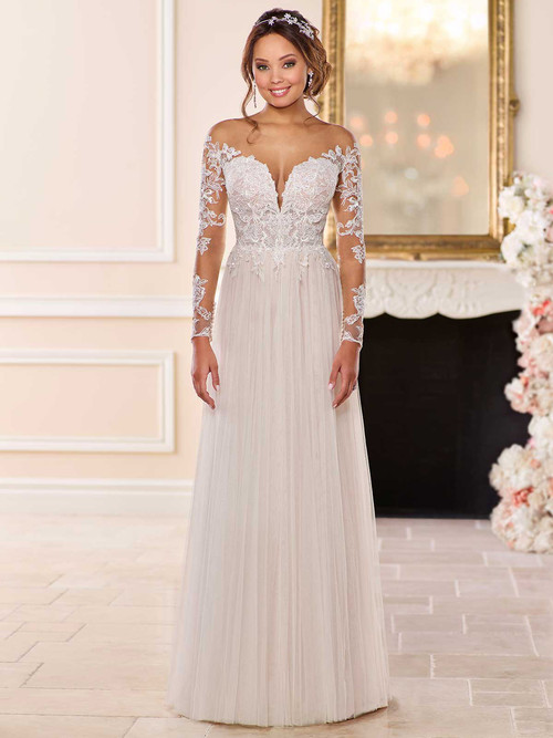 Off The Shoulder Long Sleeves wedding gown Stella York 6646