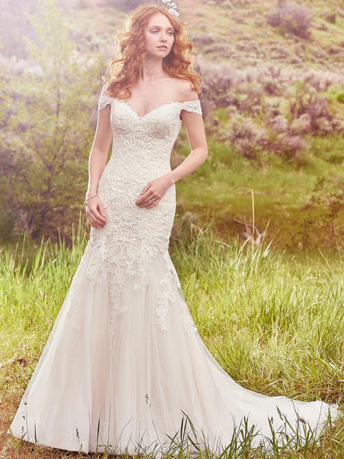Off The Shoulder wedding gown Maggie Sottero Afton