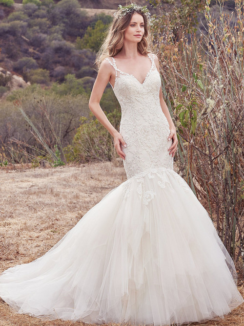 V-neck Fit And Flare wedding gown Maggie Sottero Alta