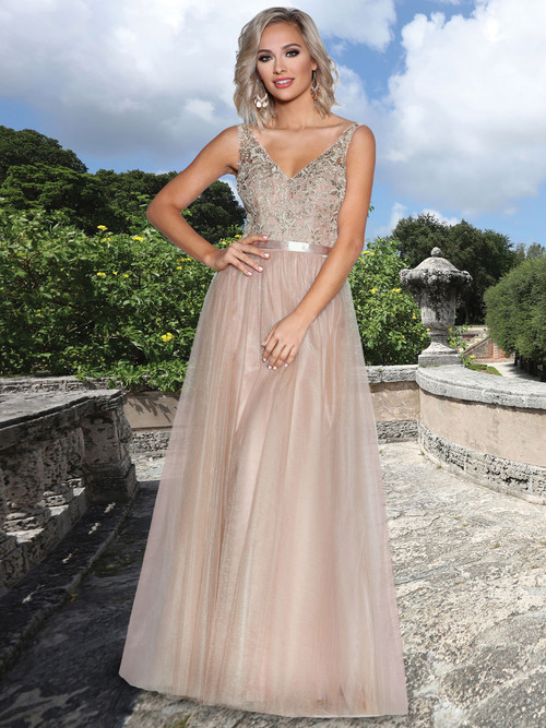 Lace/Tulle Ball Gown Bridesmaid Dress by Ashley & Justin 20343
