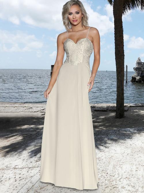 Lace Top Chiffon  Bridesmaid Dress by Ashley & Justin 20349