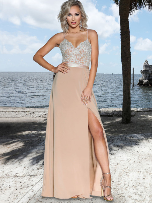 A-Line Lace Top  Bridesmaid Dress by Ashley & Justin 20350