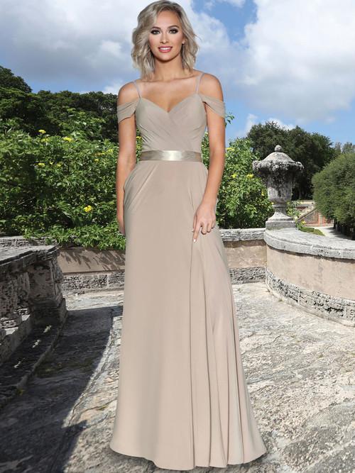 Ruched Stretch Chiffon Bridesmaid Dress by Ashley & Justin 20353
