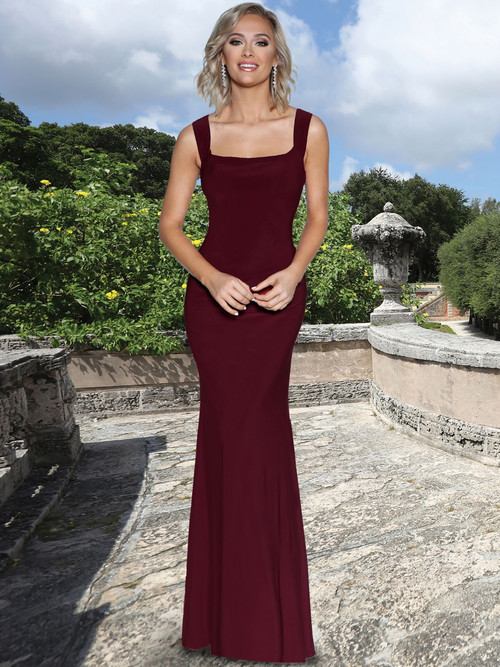 Square Neck Fitted Bridesmaid Dress by Ashley & Justin 20354