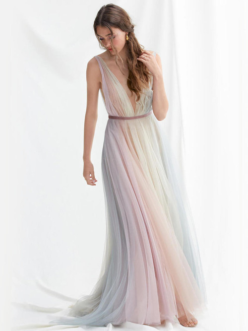 Plunging V-neckline wedding gown Willowby Hutton 52301