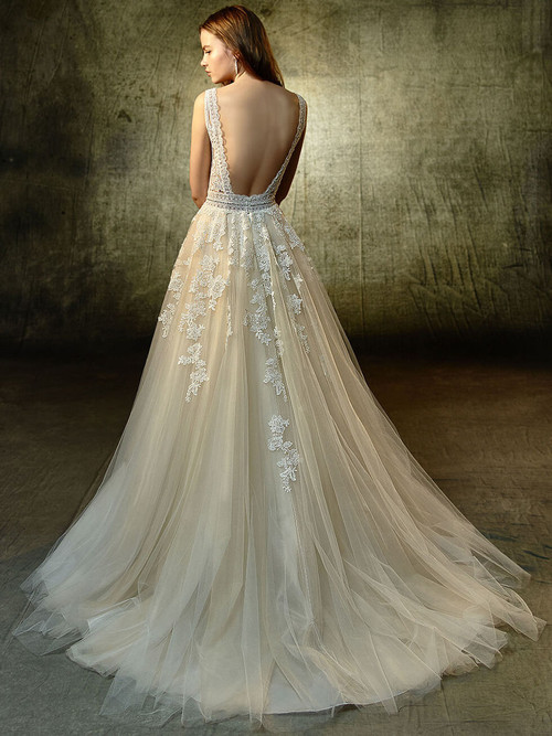 Blue by Enzoani A-Line Wedding Gown Lavender