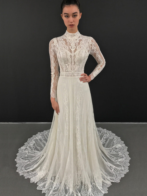 Long Sleeved Wedding Gown Blue by Enzoani Leonora