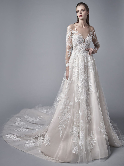 Illusion Neckline Wedding Gown Blue by Enzoani Lysandra