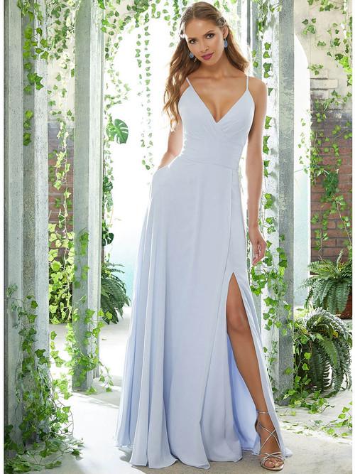 V-neck bridesmaid dress Mori Lee 21607