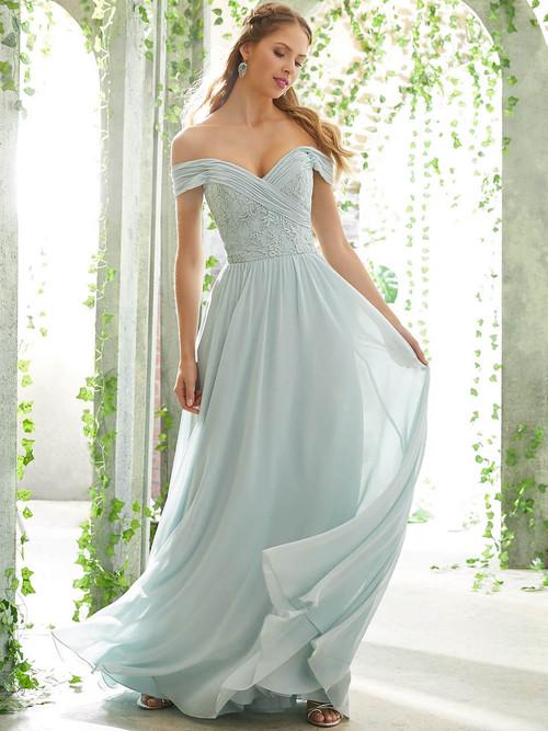 Off The Shoulder bridesmaid dress Mori Lee 21614