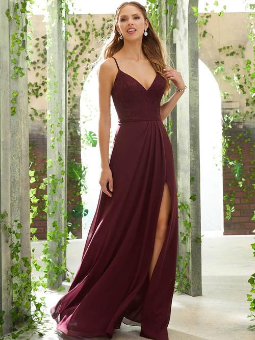 V-neck bridesmaid dress Mori Lee 21622