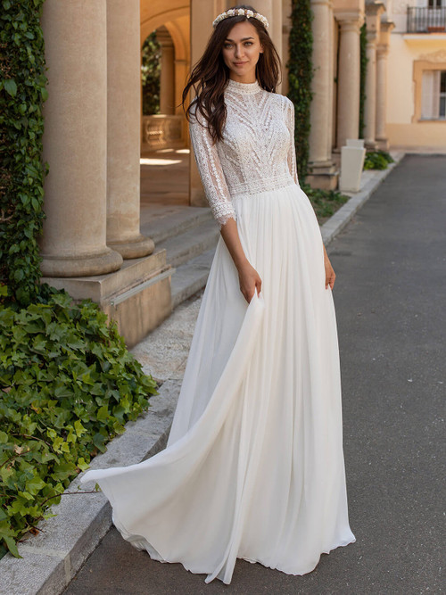 High Neckline Wedding Gown Pronovias Mimosa