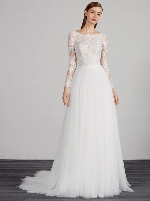 Bateau Neckline wedding dress Pronovias Misouri