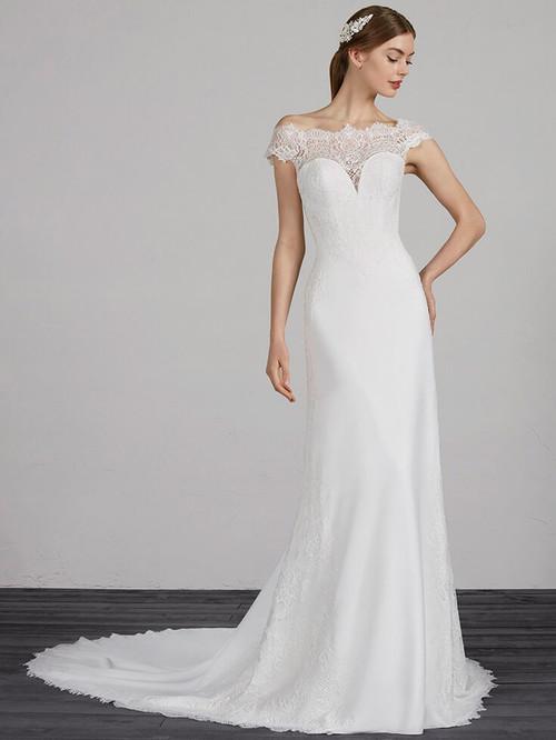 Off The Shoulder wedding dress Pronovias Modena