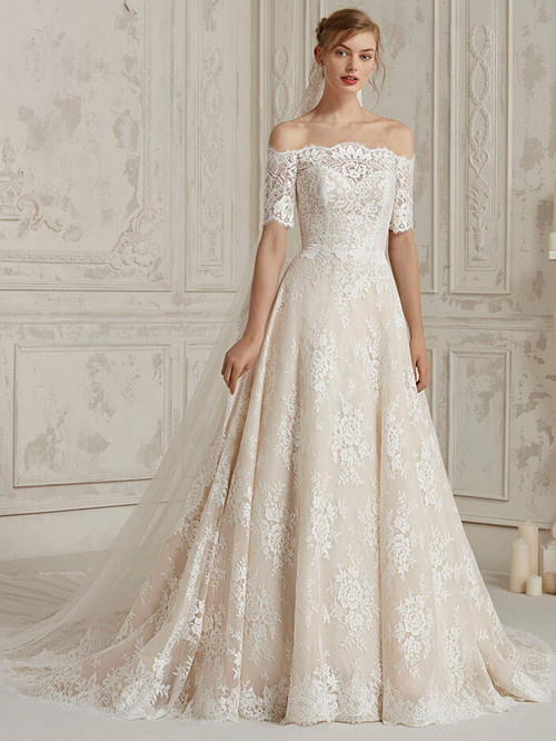 Off The Shoulder wedding dress Pronovias Mundo