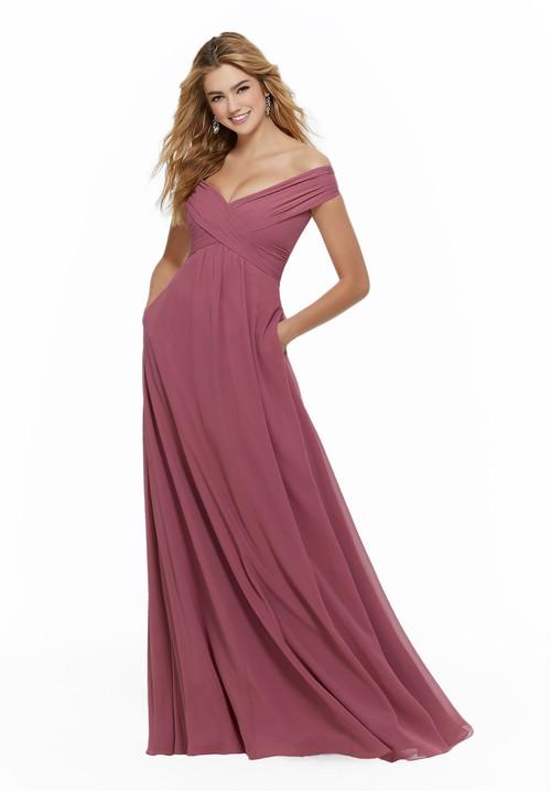 Off The Shoulder bridesmaid dress Mori Lee 21646