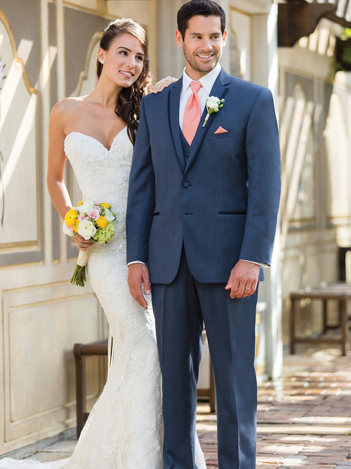 blue tuxedo with a slimmer notch lapel edged in fine satin