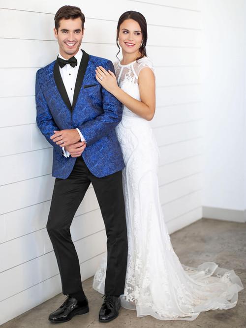 cobalt blue paisley wedding tuxedo