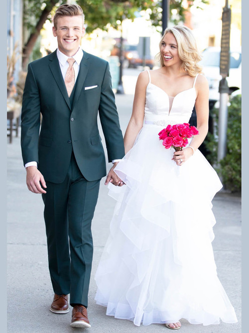Hunter Green Wedding Tuxedo by Ike Behar Luka 8544