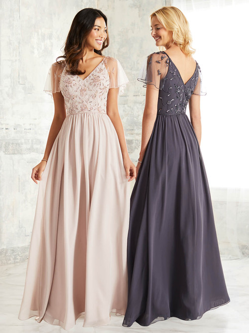 Sheer Flutter Sleeve Adrianna Papell Bridesmaid Dress 40253