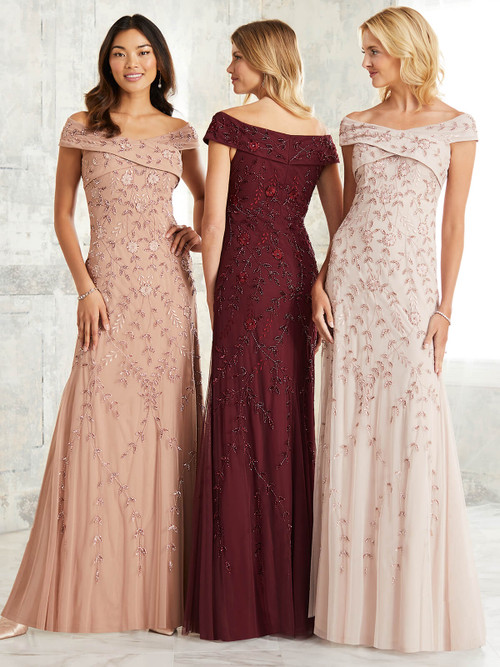 Off The Shoulder Adrianna Papell Bridesmaid Dress 40256