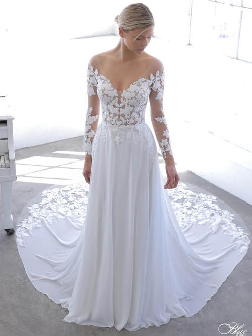 Floral Appliqued Enzoani Blue Wedding Dress Nandana Dimitradesigns Com