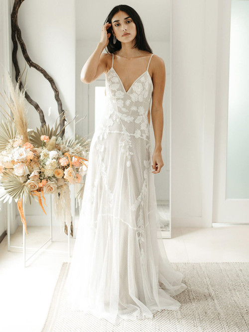 V-neck Wedding Gown Willowby River 55707