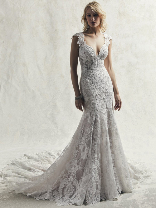 Lace Cap Sleeves Sottero and Midgley Wedding Gown Chauncey