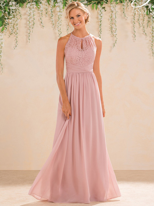 Illusion High Neck Lace Bridesmaid Dress B2 B183016