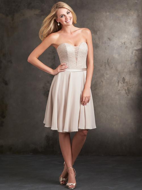 Plunging V-Lace Bodice Allure Bridesmaids Short Dress 1424