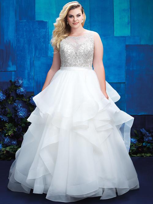Allure Women W393 Illusion Bateau Neckline Bridal Gown