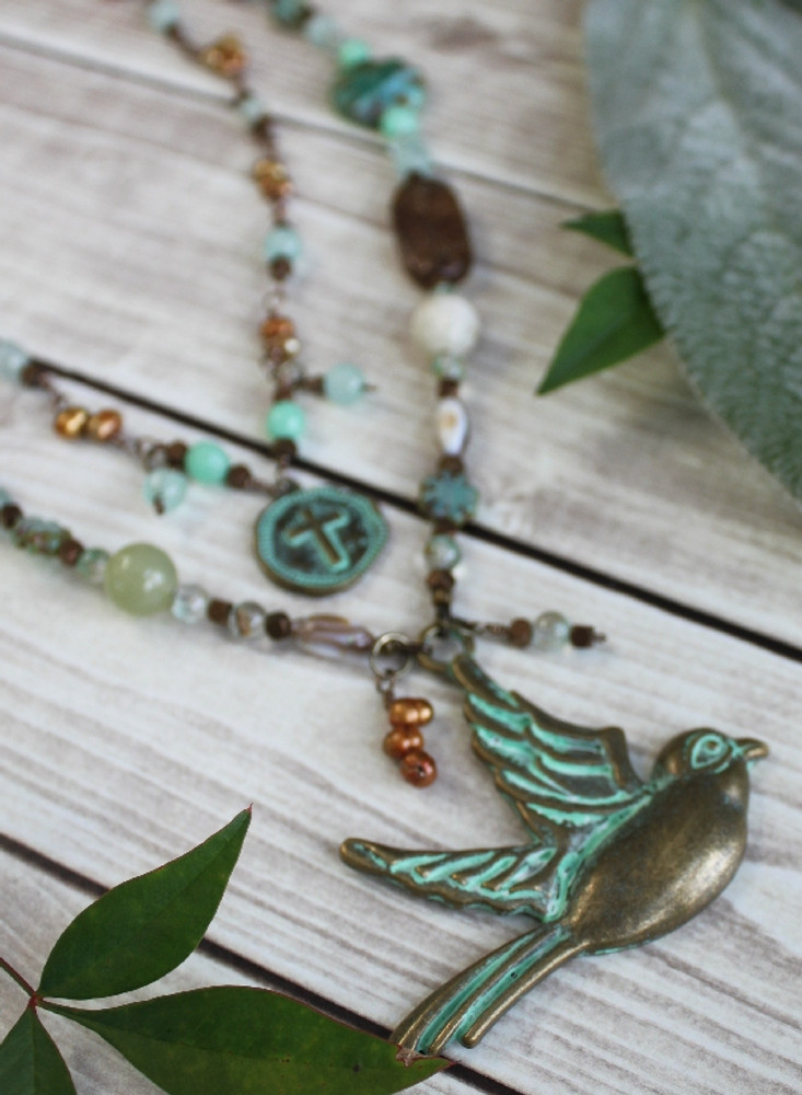 Verdigris Bird Pendant Necklace