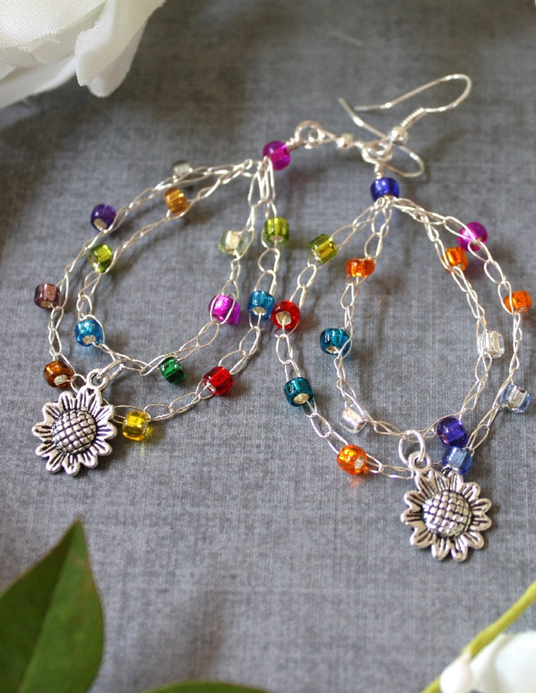 Crochet Wire Beaded Hoop Earrings