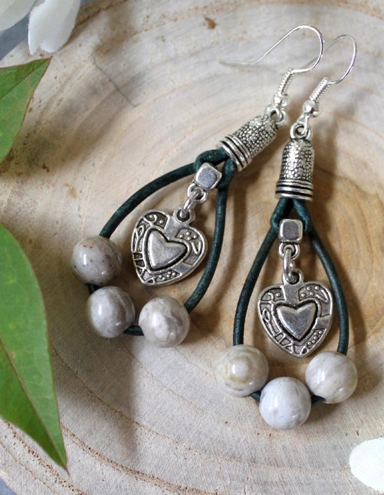 Double Loop Leather & Bead Hoop Earrings