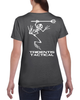 Tridentis Tactical Dark Heather Women's T-Shirt White Logo and Lettering