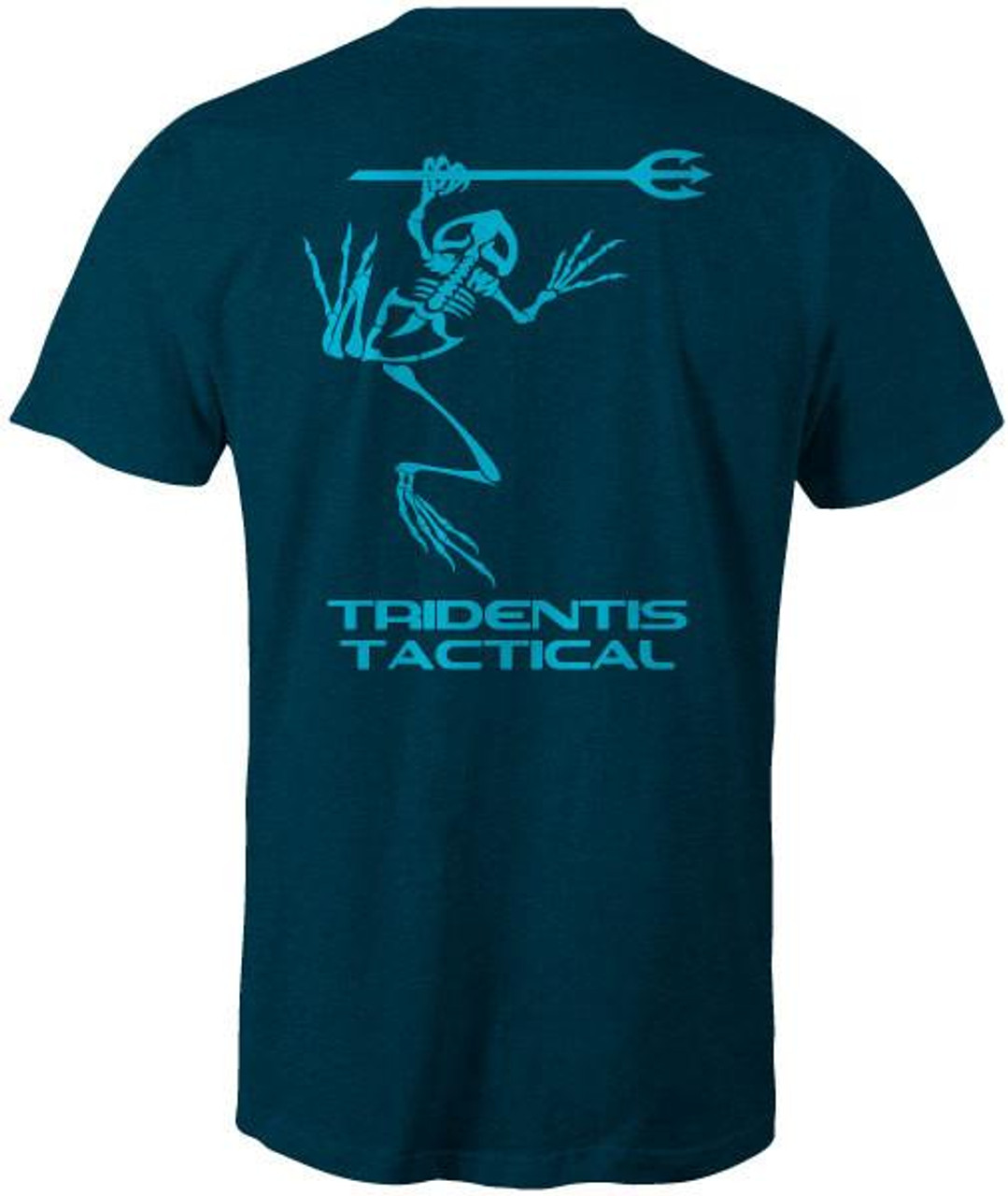 Tridentis Tactical Heather Navy Men's T-Shirt Brite Blue Logo and Lettering