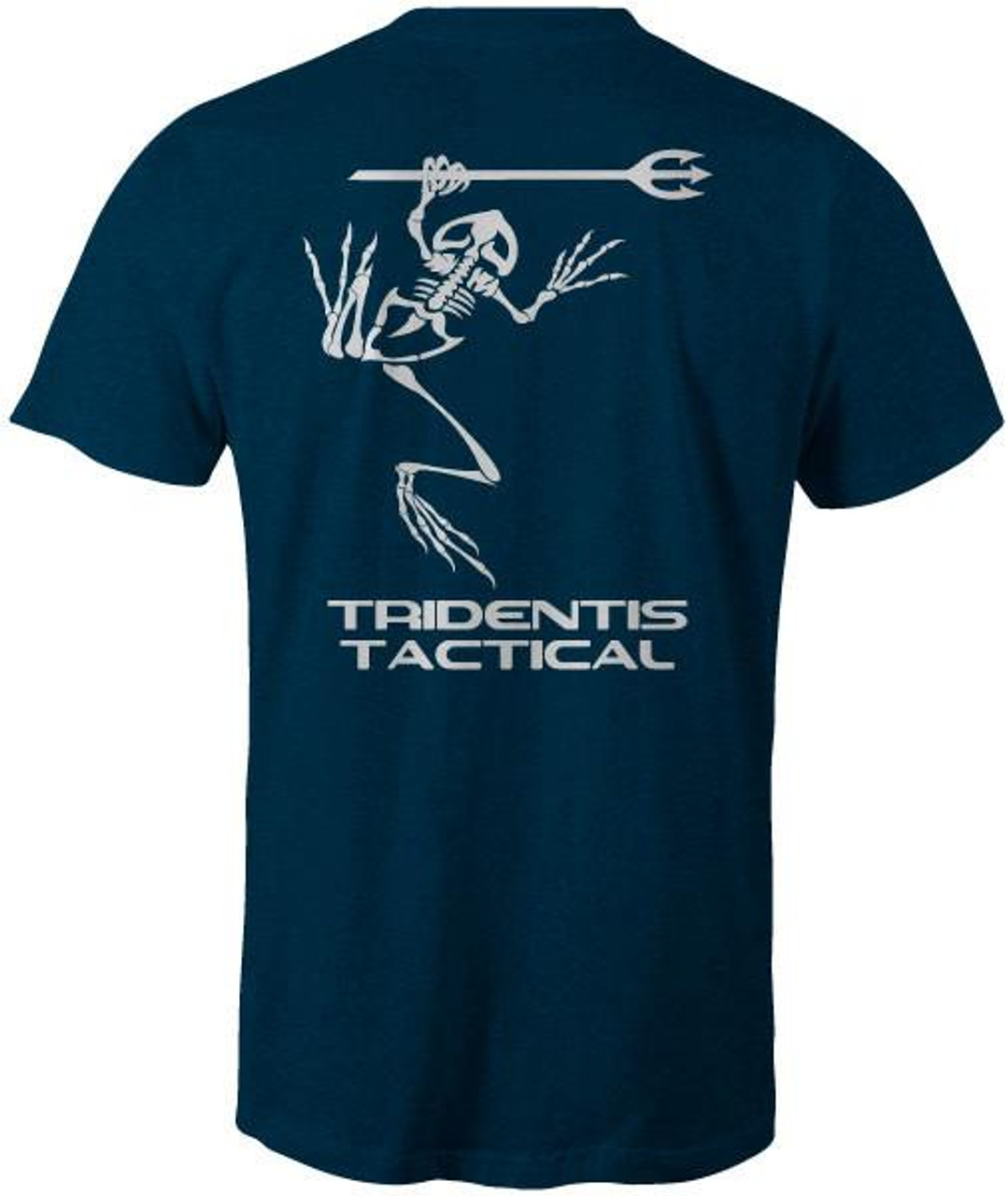 Tridentis Tactical Heather Navy Men's T-Shirt White Logo and Lettering