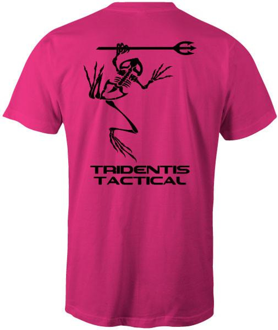 Tridentis Tactical Heliconia Pink T-Shirt Black Logo and Lettering