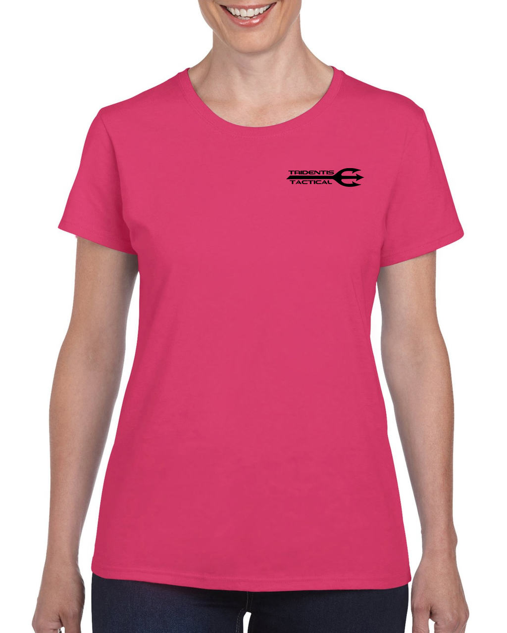 Tridentis Tactical Heliconia Pink Women's T-Shirt Black Logo and Lettering