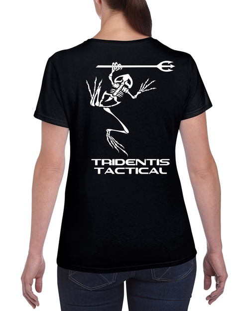 Tridentis Tactical Black Women's T-Shirt White Logo and Lettering