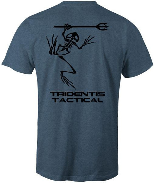 Tridentis Tactical Heather Indigo Men's T-Shirt Black Logo and Lettering