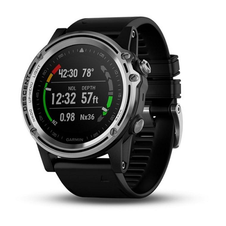 Garmin Descent MK1 GPS Dive Computer Watch - Silver Sapphire w/ Black Band
