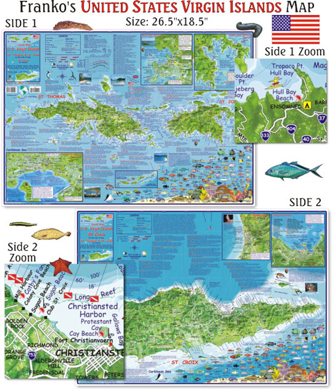 Franko Maps U.S. Virgin Islands Map for Scuba Divers and Snorkelers